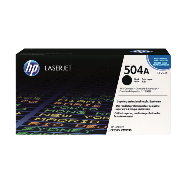 HP 504A Black LaserJet Toner Cartridge | CE250A