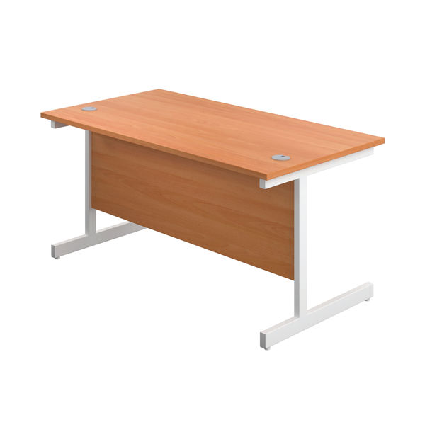 First 1600mm Beech/White Single Rectangular Desk