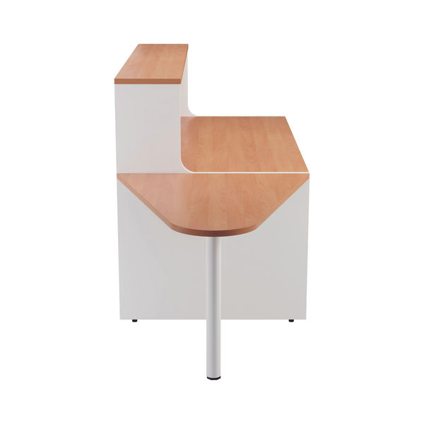 Jemini 1600mm Beech/White Reception Unit with Extension