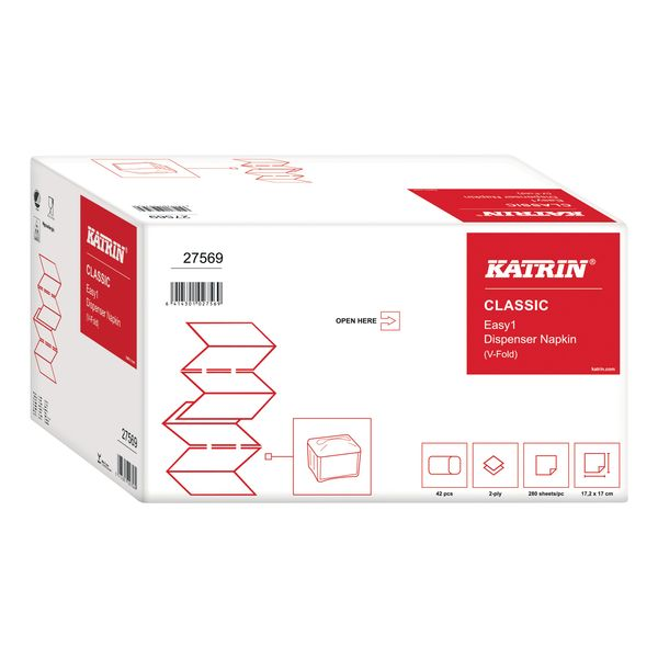 Katrin Classic White 2-Ply 280 Sheet EASY1 Napkins (Pack of 42) - 27569