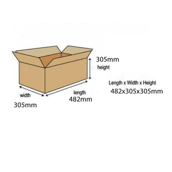 Single Wall 482x305x305mm Corrugated Cardboard Boxes, Pack of 25 - SC-18