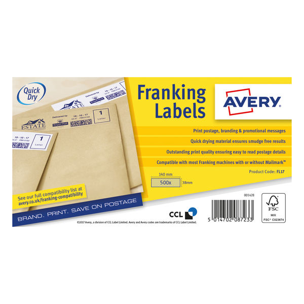 Avery Kraft Brown 140 x 38mm Franking Labels, Pack of 500   FL17