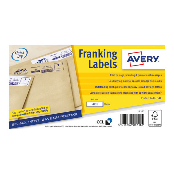 Avery White 175 x 40mm Franking Labels, Pack of 1000   FL10