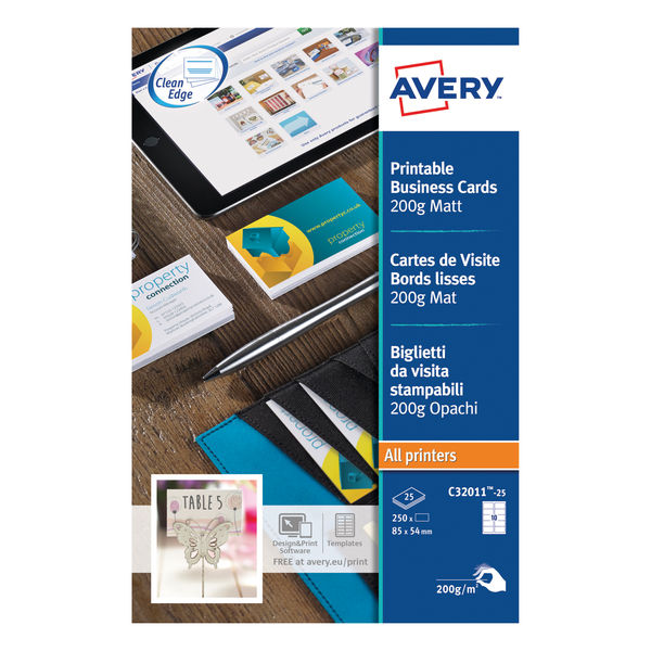 Avery Matte White 85 x 54mm Multipurpose Business Cards, Pack of 250 | C32011-25