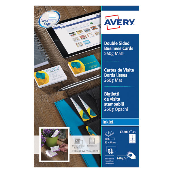 Avery Matte White 85 x 54mm 260gsm Inkjet Business Cards, Pack of 200 | C32015-2