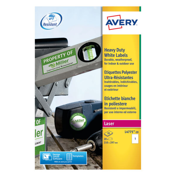 Avery Laser Labels 20 Labels Heavy Duty White 210 x 297 mm | L4775-20