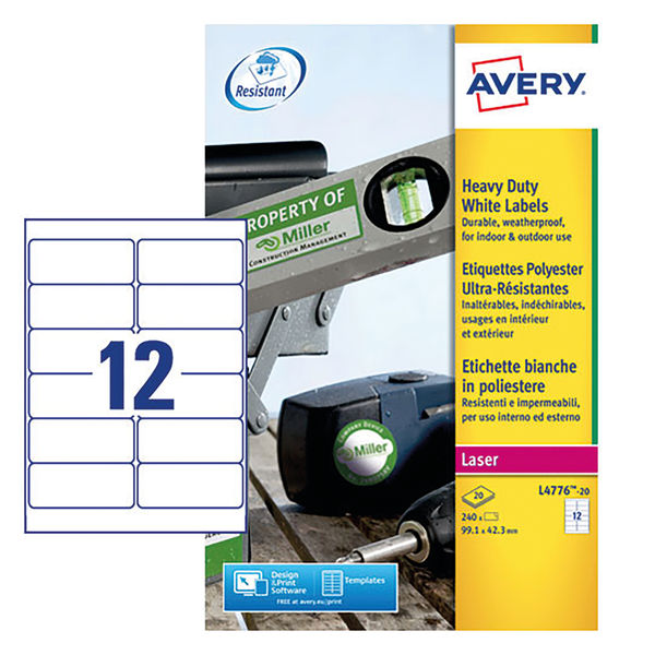 Avery White 63.5 x 72mm Heavy Duty Laser Label, Pack of 240 - L4776-20