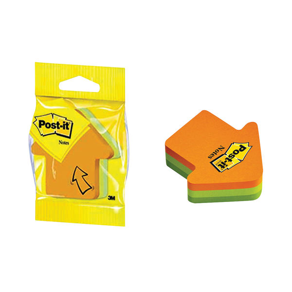 Post-it Notes 70 x 70mm Arrow Neon Orange and Green (Pack of 12) 3M34983