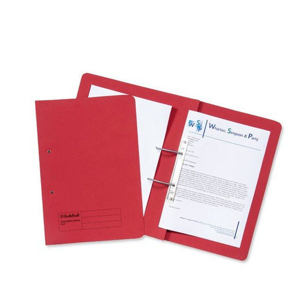 Guildhall Foolscap Red Transfer Spiral Pocket Files 420gsm, Pack 25 - GH23038