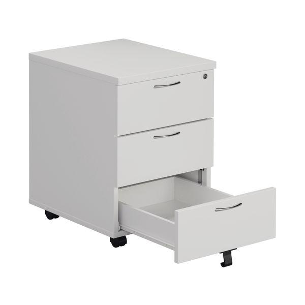 Jemini 595mm White 3 Drawer Mobile Pedestal