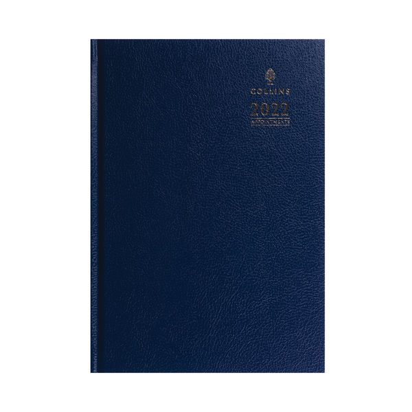 Collins A4 Desk Diary Day Per Page Appointment Blue 2022 A44BLU