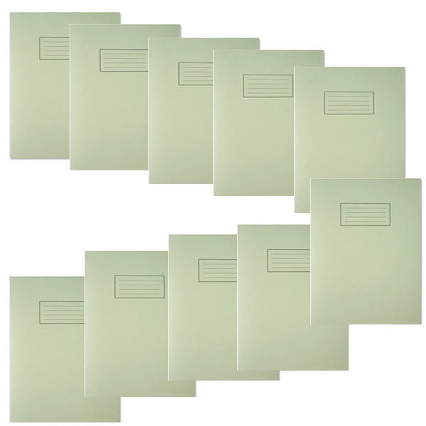 Silvine A4 Green Ruled Exercise Books, Pack of 10 | EX110