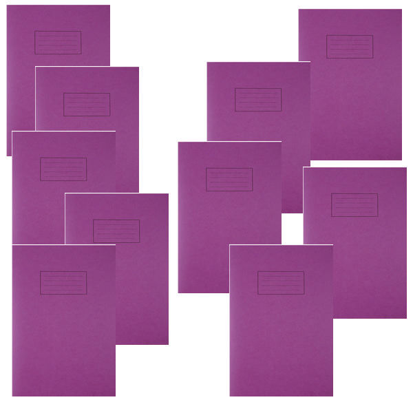 Silvine A4 Purple Exercise Book, Notebooks - Pack of 10 - SV43512