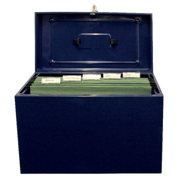 Cathedral Blue Foolscap Lockable Metal Box File - HOBL