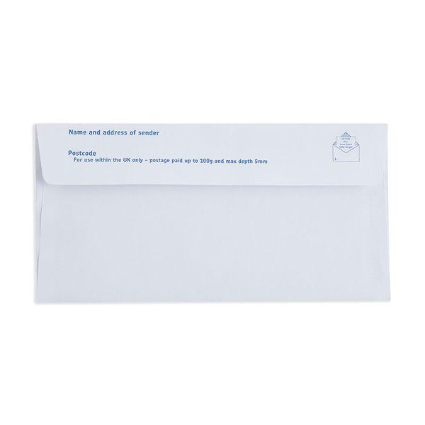 1st Class White DL Plain Prepaid Envelopes, Pack of 100 - V1
