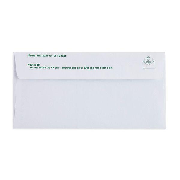 2nd Class White DL Plain Prepaid Envelopes, Pack of 100 - V2