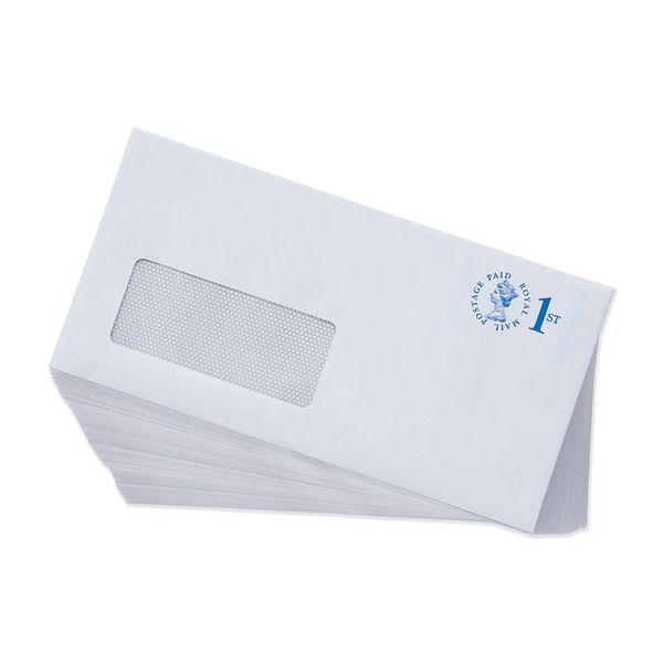 1st Class White DL Window Prepaid Envelopes, Pack of 100 - V3