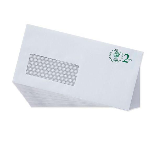 2nd Class White DL Window Prepaid Envelopes, Pack of 100 - V4