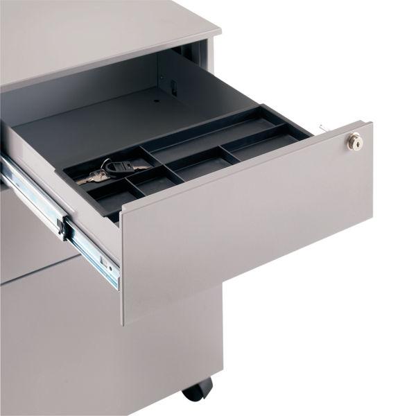 Jemini 615mm Silver 3 Drawer Mobile Steel Pedestal