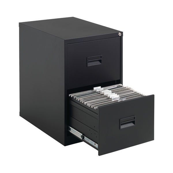 Talos 700mm Black 2 Drawer Filing Cabinet