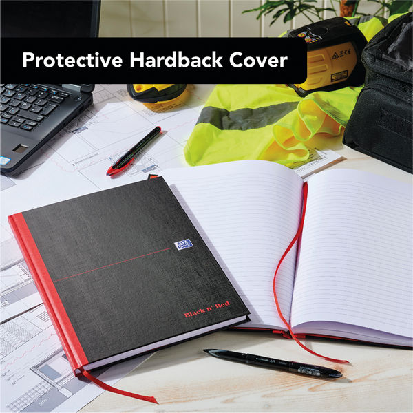 Black n Red Feint Ruled Casebound Hardback Notebook Ruled A4 (Pack of 5) 100080446