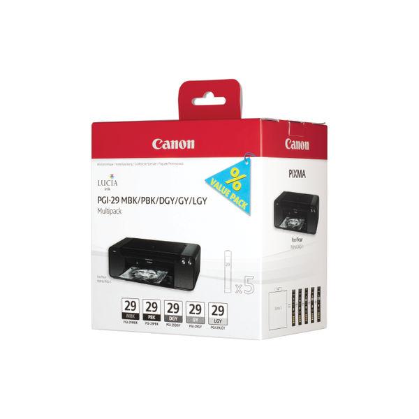 Canon PGI-29 MBK/PBK/DGY/GY/LGY/CO Multipack Cartridges 4868B018