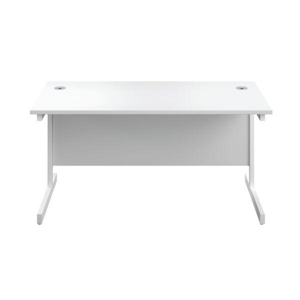 First 1400mm White/White Single Rectangular Desk