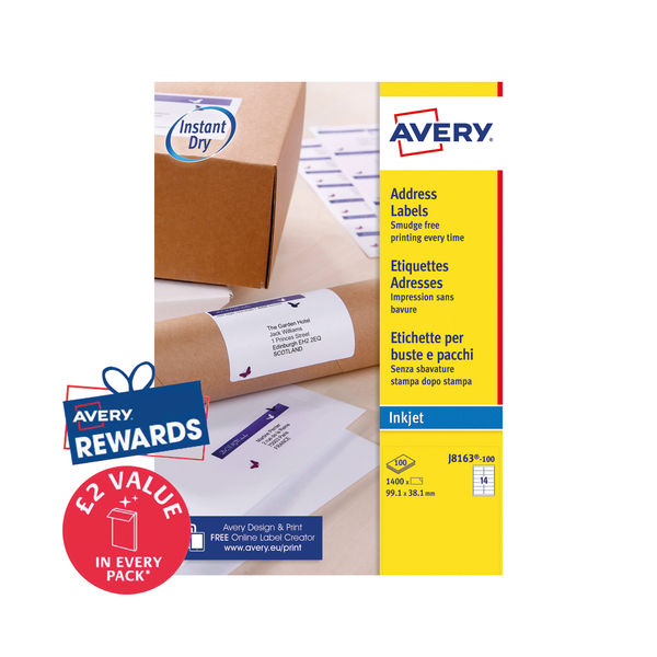 Avery Address Labels 1400 Inkjet Labels White 99.1 x 38.1 mm   Avery J8163-100