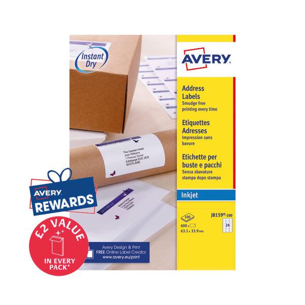 Avery Quick Dry White Inkjet Address Labels 24Labels/Sheet 63.5X33 (Box of 100 Sheets)   J8159-100