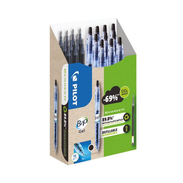 Pilot B2P 10 Gel Ink Rollerball Pens 10 Refills Medium Tip Black (Pack of 20) WLT556190