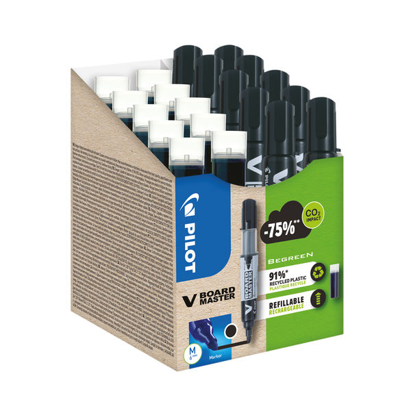Pilot V Board Master 10 Drywipe Markers 10 Refills Medium Tip Black (Pack of 20) WLT556275