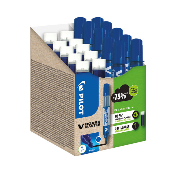 Pilot V Board Master 10 Drywipe Markers 10 Refills Medium Tip Blue (Pack of 20) WLT556282
