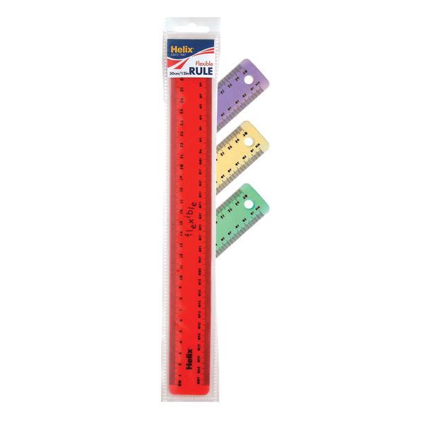 Helix Assorted Translucent Flexirule Rulers 30cm (Pack of 10) K47010