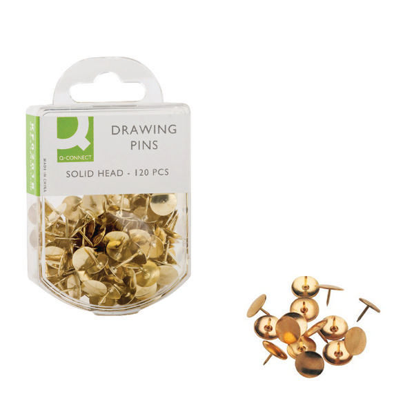 Q-Connect Brass Drawing Pins, Pack of 10 - KF02018Q