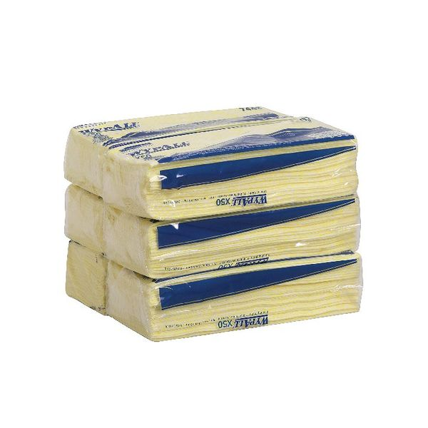 Wypall X50 Cleaning Cloths Yellow (Pack of 50) 7443