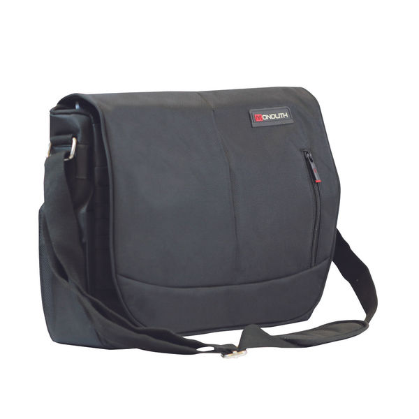 Monolith Courier Messenger Bag w/Pocket for iPad or Netbook Black 3203
