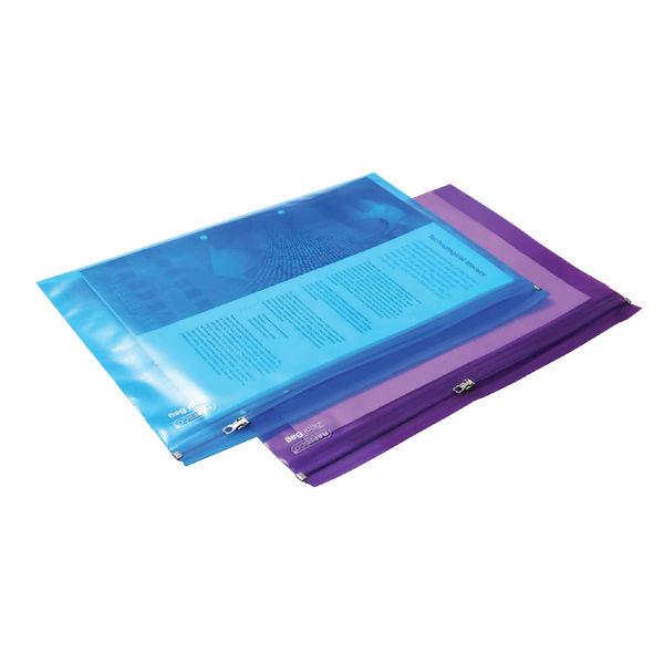 Rapesco Zippi Bags Metal Zip A4 Plus Assorted (Pack of 25) 0798
