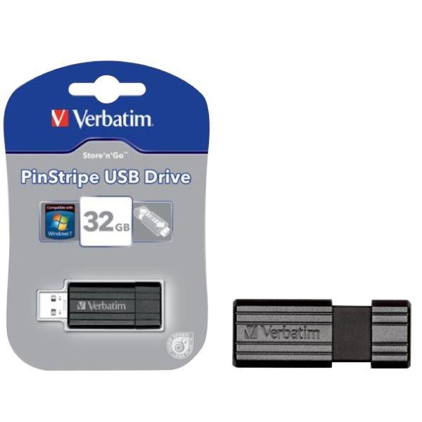 Verbatim Black PinStripe 32GB USB Drive - 49064
