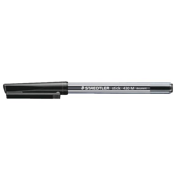 Staedtler Medium Black Ink Stick 430 Pens, Pack of 50 - 430-M9