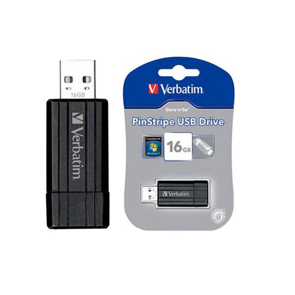 Verbatim Black PinStripe 16GB USB Drive - 49063