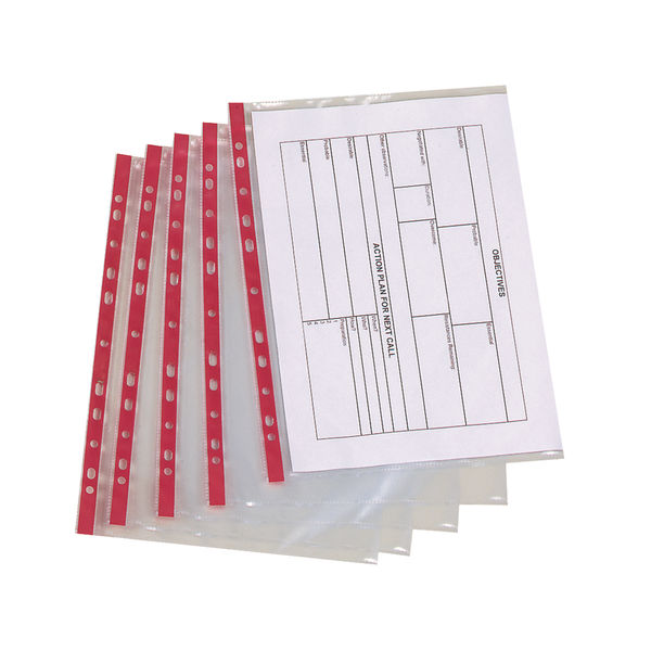Q-Connect Red Strip A4 Delux Punched Pocket - KF01123
