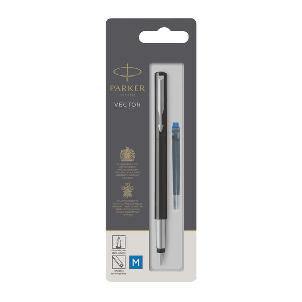 Parker Vector Black Barrel Fountain Pen - 446.821.2141