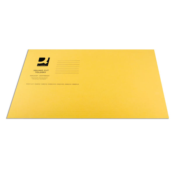 Q-Connect Yellow Foolscap Square Cut Folders 180gsm, Pack of 100 - KF26027