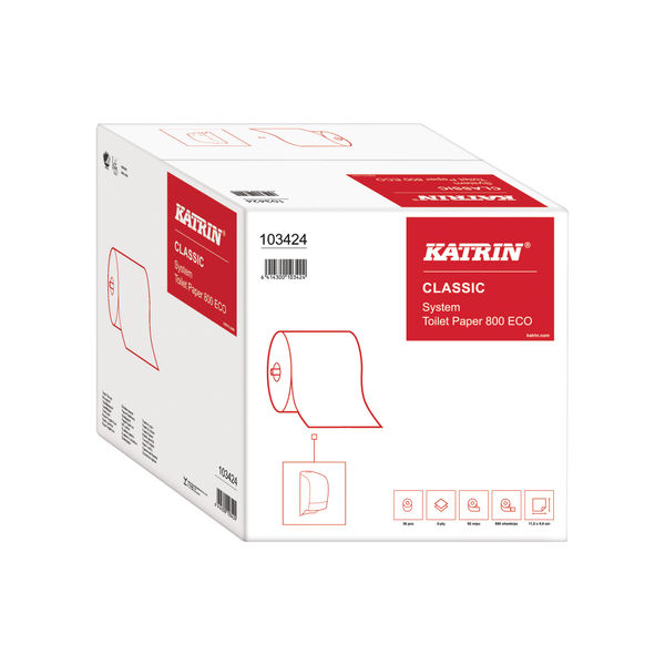 Katrin Classic ECO Toilet Roll 2-Ply 800 Sheets (Pack of 36) 103424