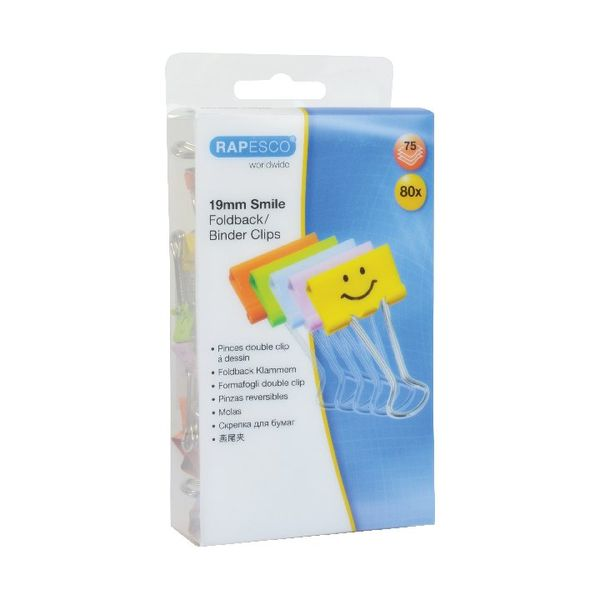 Rapesco Assorted 19mm Smiles Foldback Clips, Pack of 80 - 1428