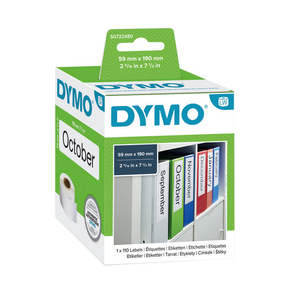 Dymo Label Writer Lever Arch File Labels 190 x 59mm White | S0722480