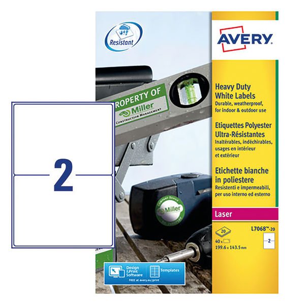 Avery Heavy Duty Address Labels 199.6 x 143.5mm White (Pack of 40) - L7068-20