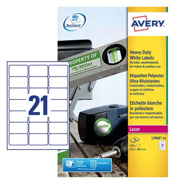 Avery Laser Label Heavy Duty 21 Per Sheet White (Pack of 420) L7060-20