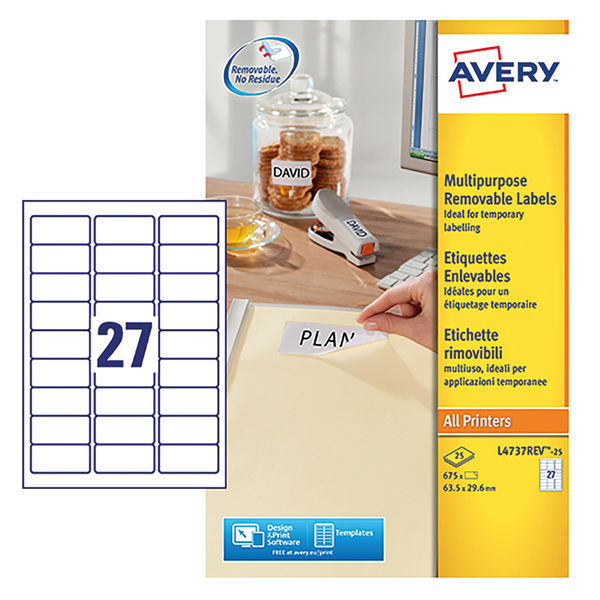 Avery Removable White Laser Labels, 63.5 x 29.6mm (Pack of 675) - L4737REV-25