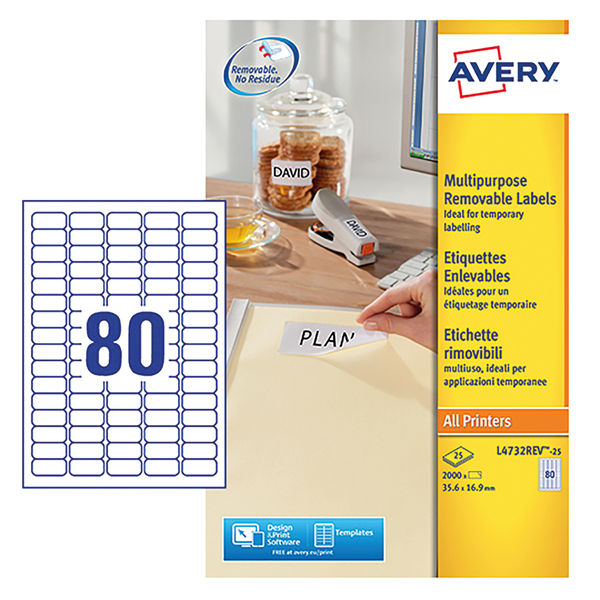 Avery Removable Mini Laser Labels, 35.6 x 16.9mm, (2000 Pack) - L4732REV-25
